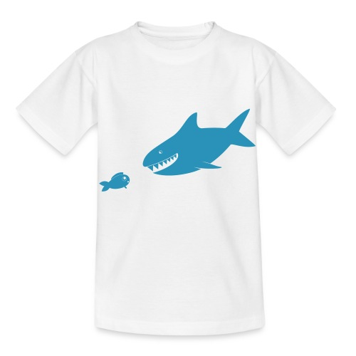 Kleiner Fisch + Hai / dunkler Hintergrund - Kinder T-Shirt