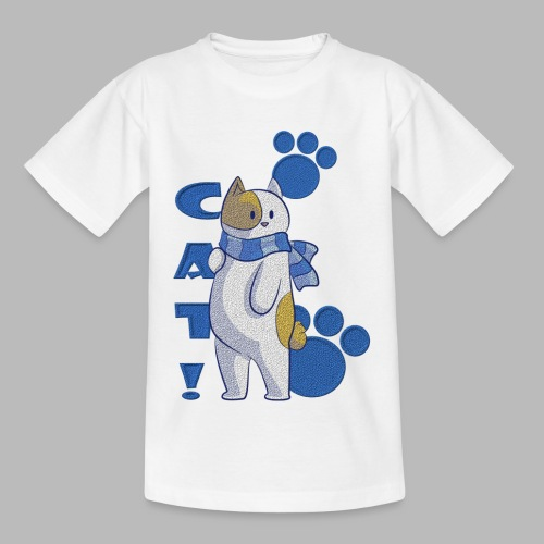 Cute cat with scarf, funny cat with scarf. - Camiseta niño