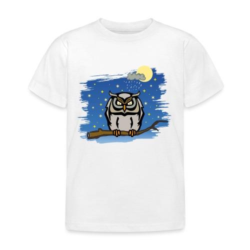 Eule Uhu Nachtschwärmer Vollmond Regenwolke Sterne - Kinder T-Shirt
