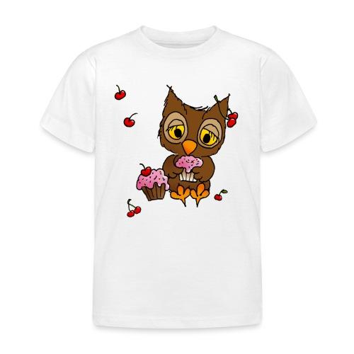 Eule mit Cupcakes - Kinder T-Shirt