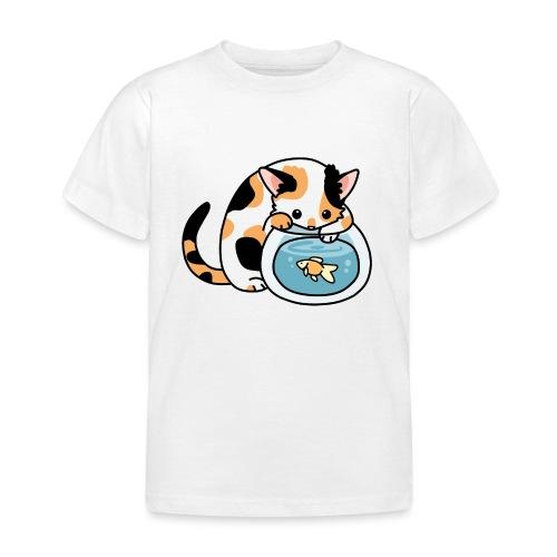 Katze mit Fisch im Glas - Kinder T-Shirt