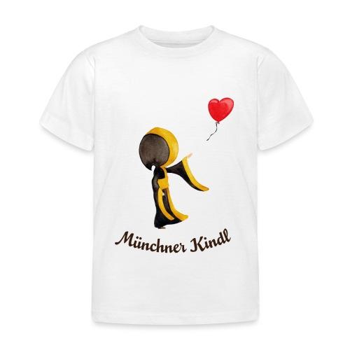 Münchner Kindl mit Herz-Luftballon und Text dunkel - Kinder T-Shirt