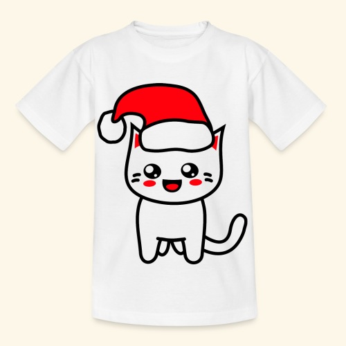 Kawaii Kitteh Christmashat - Kinder T-Shirt