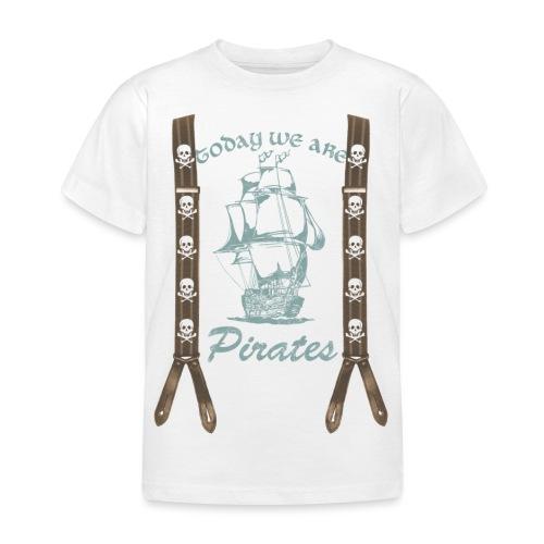 Piraten,Totenkopf, Hosenträger - Kinder T-Shirt