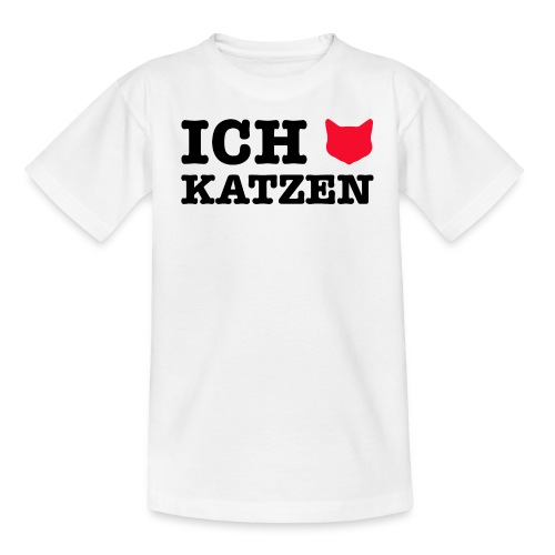 Ich liebe Katzen mit Katze als Herz - Kinder T-Shirt