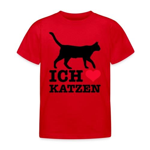 Ich liebe Katzen mit Katzen-Silhouette - Kinder T-Shirt