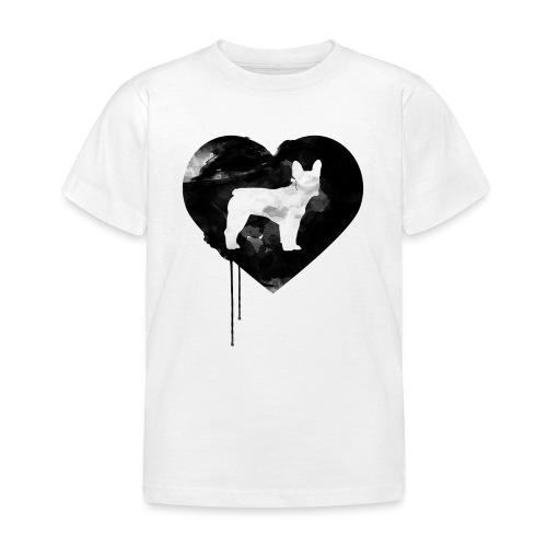 Französische Bulldogge Herz mit Silhouette - Kinder T-Shirt