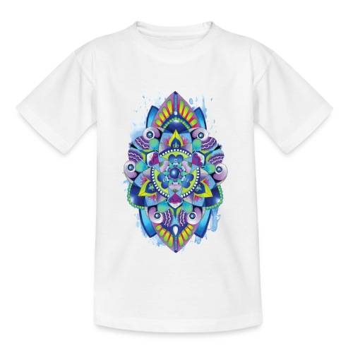 Zentangle watercolour Splash Mandala Design - Kids' T-Shirt