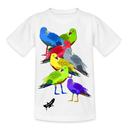Seagulls by BlackenedMoonArts, with logo - Børne-T-shirt