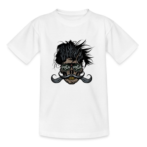 hipster skull tete de mort crane barbu moustache - T-shirt Enfant