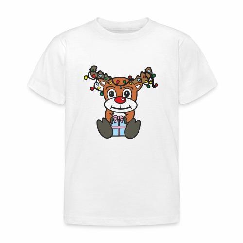 Rentier mit Lichterkette - Kinder T-Shirt