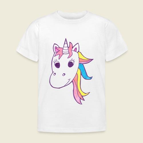Einhorn Unicorna lila weiß bunte Mähne - Kinder T-Shirt