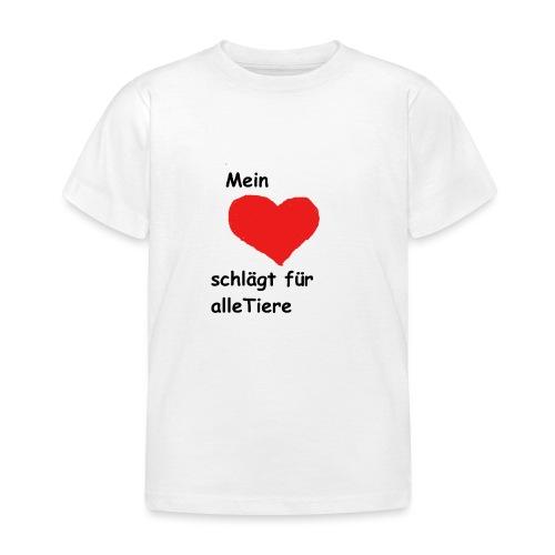 Mein Herz schlägt für alle Tiere schwarz Neu - Kinder T-Shirt
