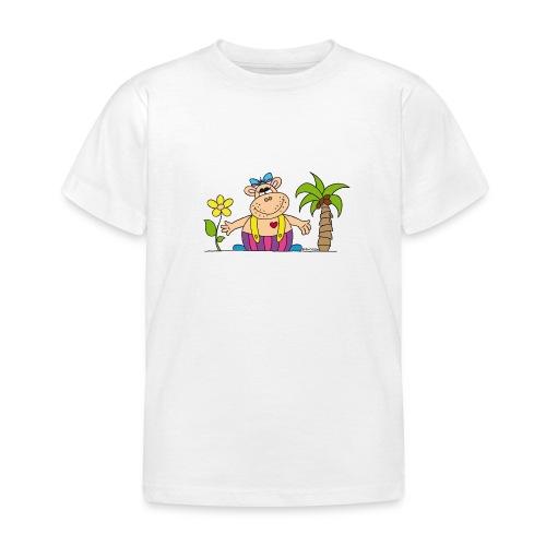 lustiges Nilpferd Sonnenblume Palme Hippo - Kids' T-Shirt