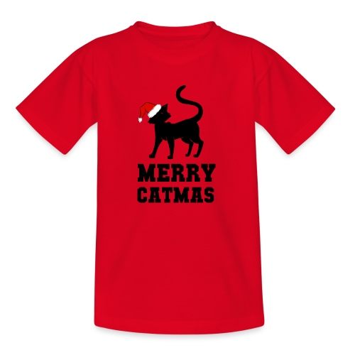 Merry Catmas - Silhouette - Kinder T-Shirt