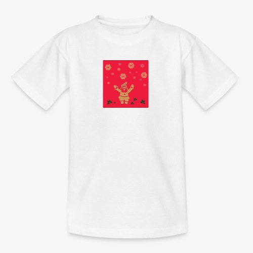 Santa Claus on a red background and snowflake - Kids' T-Shirt
