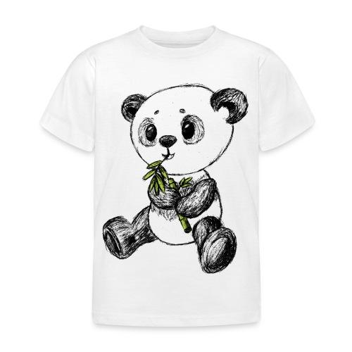 Panda bjørn farvet scribblesirii - Børne-T-shirt