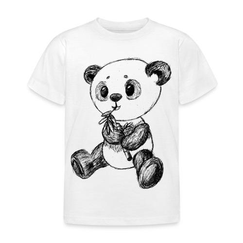 Panda bjørn sort scribblesirii - Børne-T-shirt