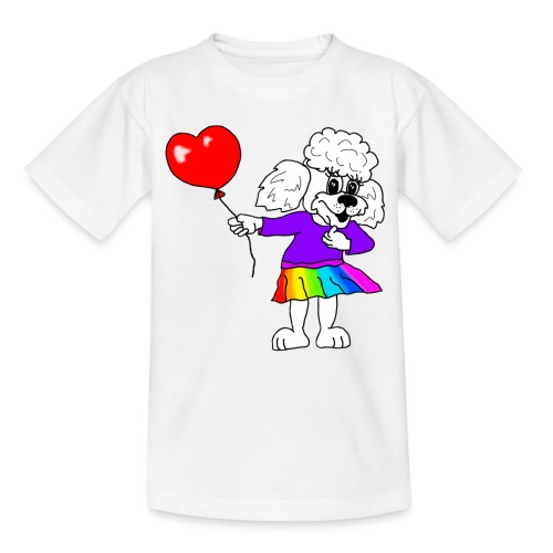 Pudelmädchen mit Herz-Luftballon - Kinder T-Shirt