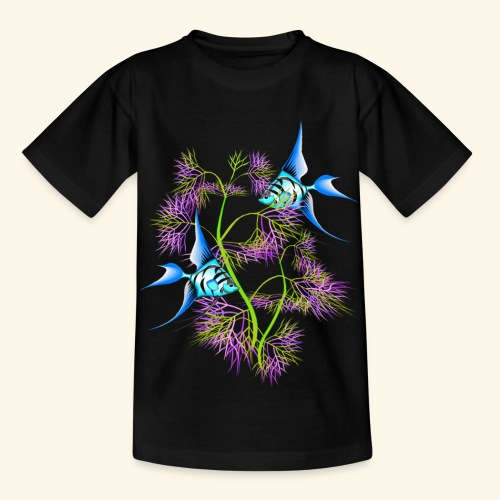 Tropical blue Fish Swimming around plants - Kids' T-Shirt