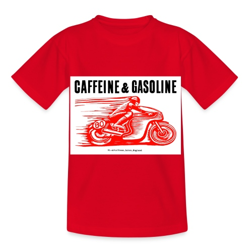 Caffeine & Gasoline black text - Kids' T-Shirt