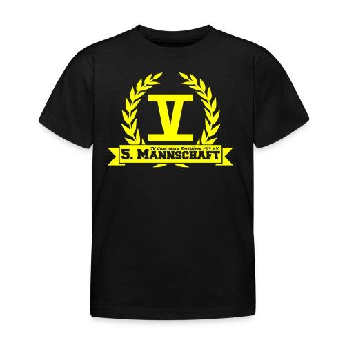 V mit College-Schriftzug - Gelb - Kinder T-Shirt