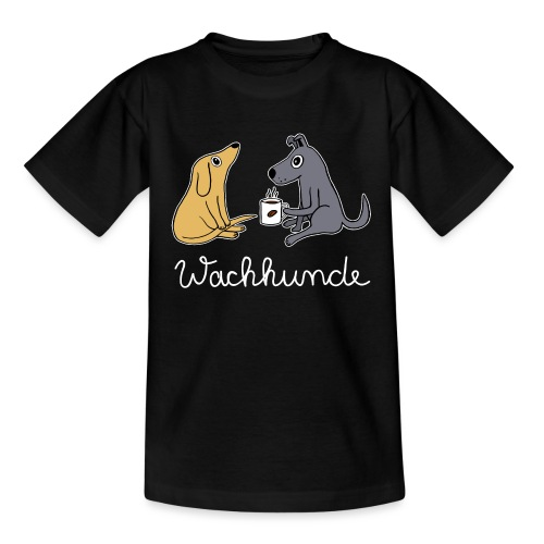Wachhund trinkt Kaffee Koffein weckt müde Hunde - Kinder T-Shirt