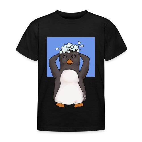 Pinguin die zijn haar wast - Kinderen T-shirt