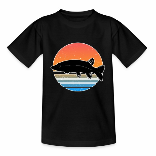 Retro Hecht Angeln Fisch Wurm Raubfisch Shirt - Kinder T-Shirt