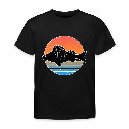 Retro Barsch Angeln Fisch Wurm Raubfisch Shirt - Kinder T-Shirt