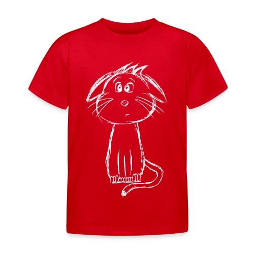 Kissa Kissanpentu valkoinen scribblesirii - Lasten t-paita