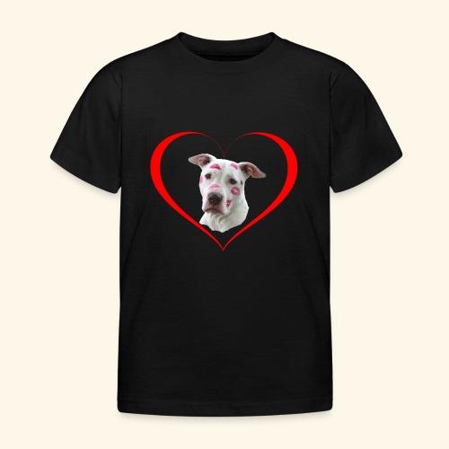 weisser Pit bull Herz Kuss - Kinder T-Shirt