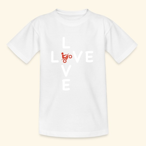 LOVE Cross white wheely red 001 - Kinder T-Shirt