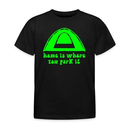 casa è dove campeggio verde hippie amore pace arte - Maglietta per bambini