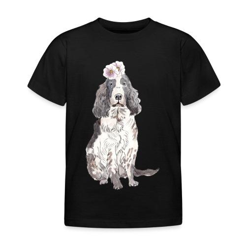English cocker spaniel with flower - Børne-T-shirt