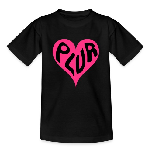 PLUR - Peace Love Unity and Respect love heart - Kids' T-Shirt