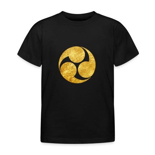 Kobayakawa Mon Japanese clan gold on black - Kids' T-Shirt