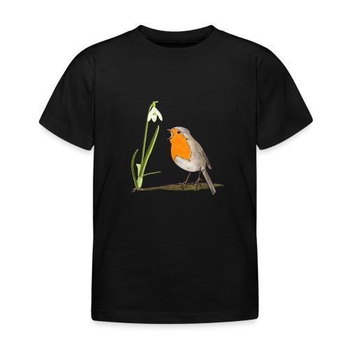 Frühling, Rotkehlchen, Schneeglöckchen - Kinder T-Shirt