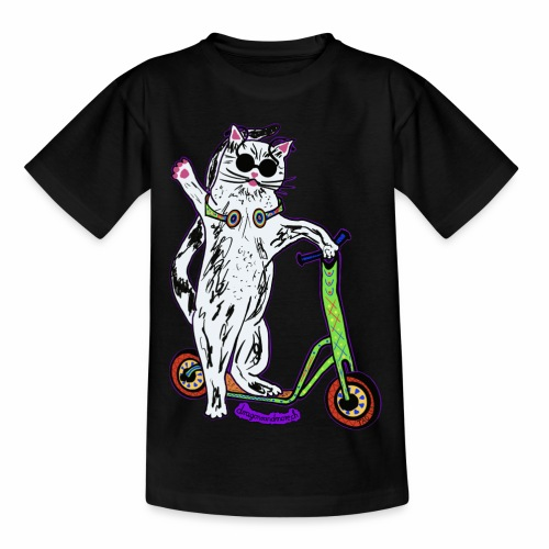 Chat Trottinette - Kinder T-Shirt