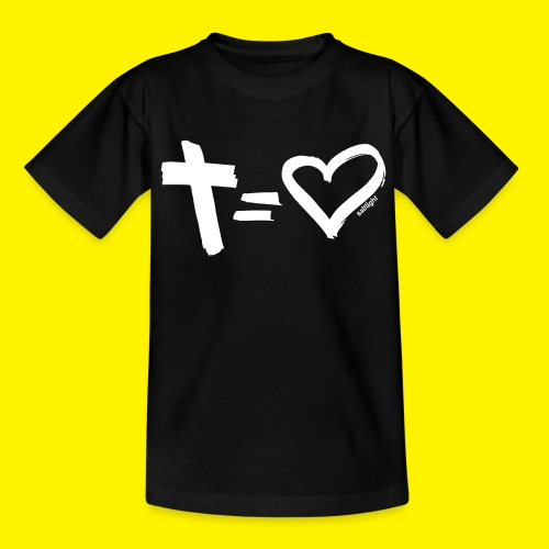 Cross = Heart WHITE // Cross = Love WHITE - Kids' T-Shirt