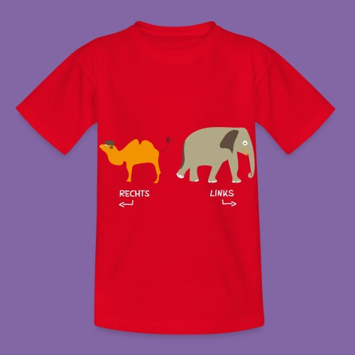 Rechts Links Lernen mit Kamel Elefant T-Shirt - Kinder T-Shirt