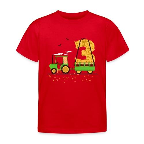 Traktor mit Anhänger 3. Geburtstag Geschenk Drei - Kinder T-Shirt