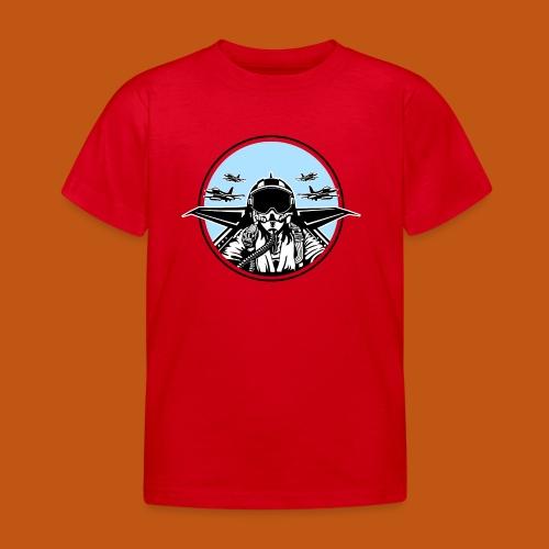 Jet Pilot / Kampfpilot 01_weiß Schwarz - Kinder T-Shirt