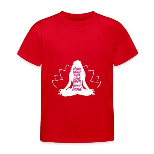 CLOSE YOUR EYES rosa YOGA PEACE LOVE SPORT ART - Maglietta per bambini