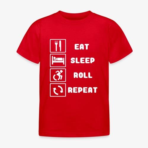 >Eten, slapen, rollen met rolstoel en herhalen 001 - Kinderen T-shirt