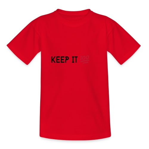 KEEP IT 100 ZWART png - Kinderen T-shirt