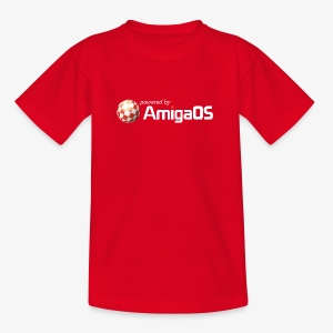 PoweredByAmigaOS white - Kids' T-Shirt
