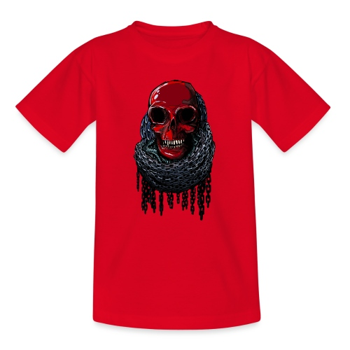 RED Skull in Chains - Kids' T-Shirt