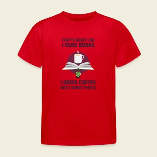 Buch und Kaffee, dunkel - Kinder T-Shirt