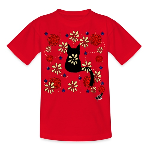 Cat with Flowers by BlackenedMoonArts, w. logo - Børne-T-shirt